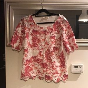 Anthropologie white and pink top